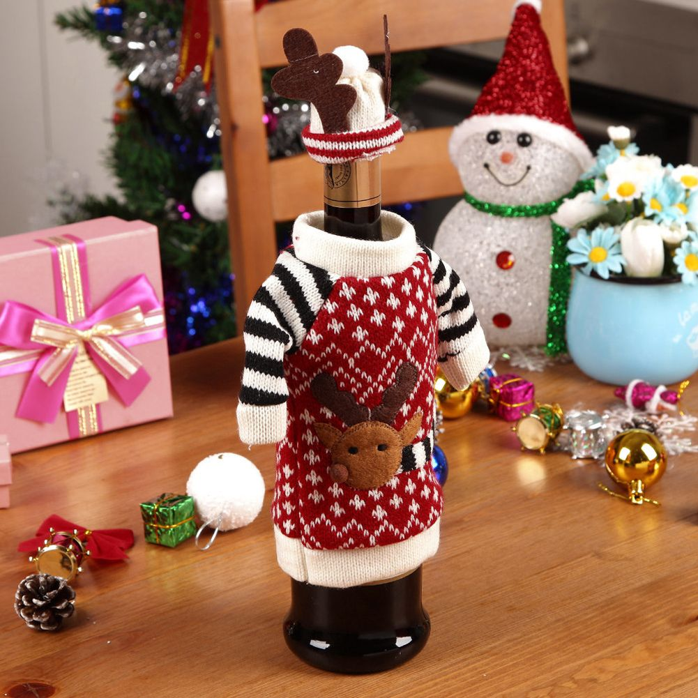 Knitted Christmas Decorations To Buy : Christmas knitted reindeer sweater coat hat wine bottle