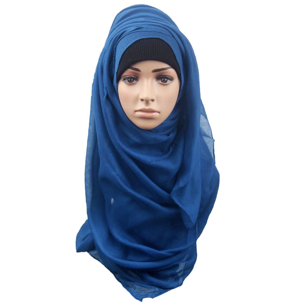 201509: Large Soft Hijab Solid Color Muslim Style Scarves Wraps