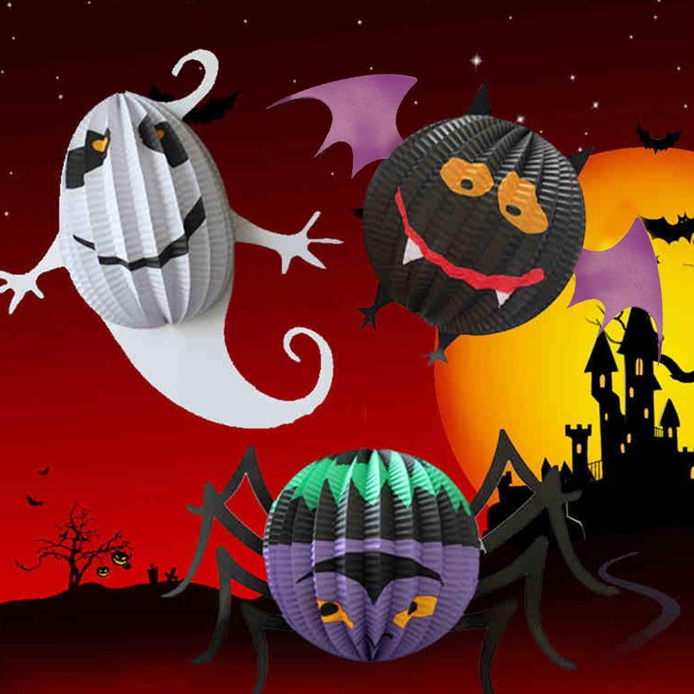 Halloween 3D Paper Ghost Bat Spider Hanging Lantern