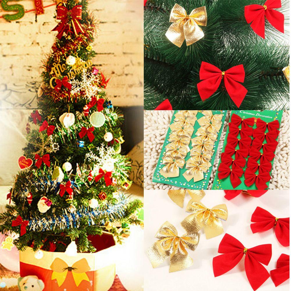 12x Bow Christmas Tree Decoration Xmas Hanging Ornament