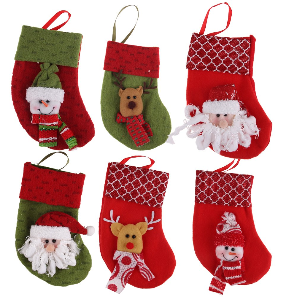 Cute christmas hanging socks candy bags gift